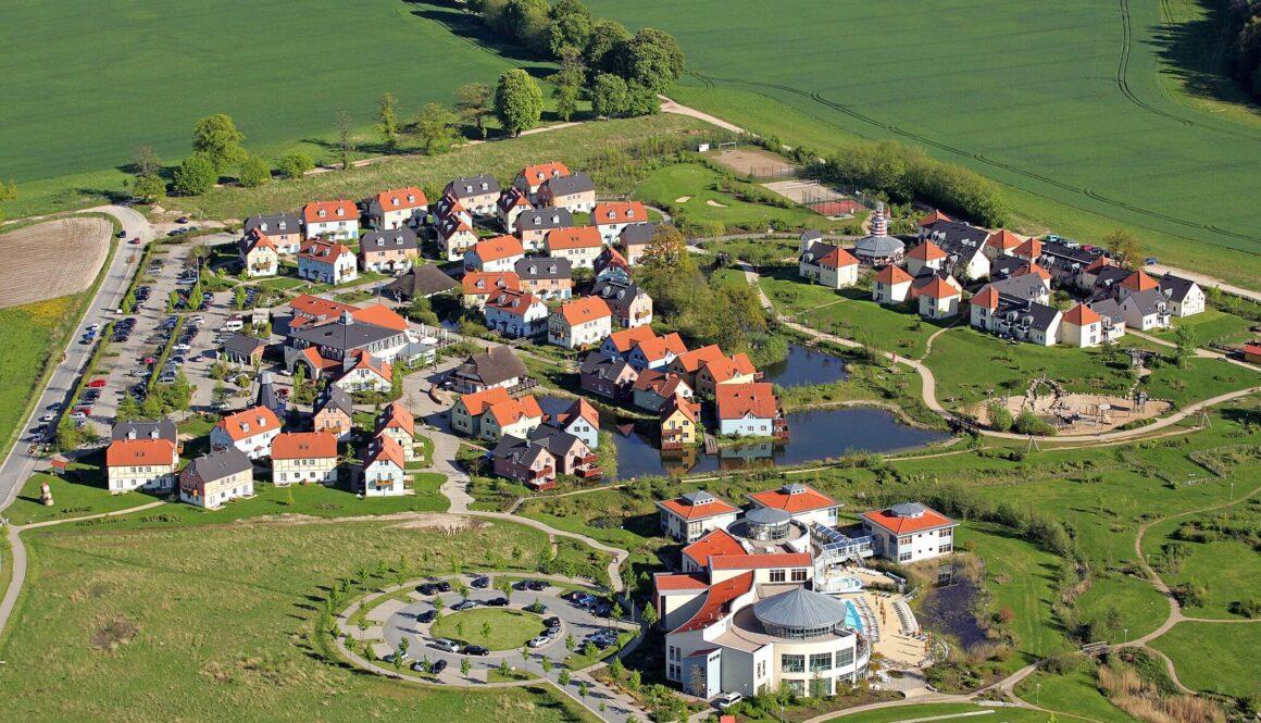 widok z lotu ptaka na Dorfhotel Fleesensee