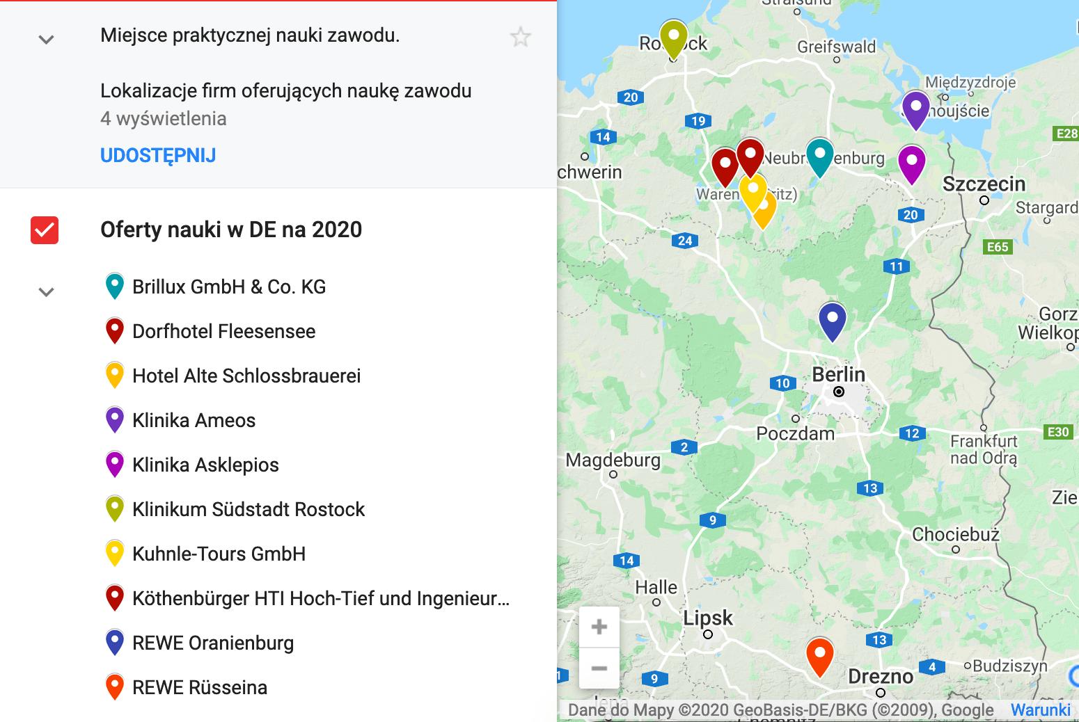 mapa Niemiec z firmami uczacymi zawodu