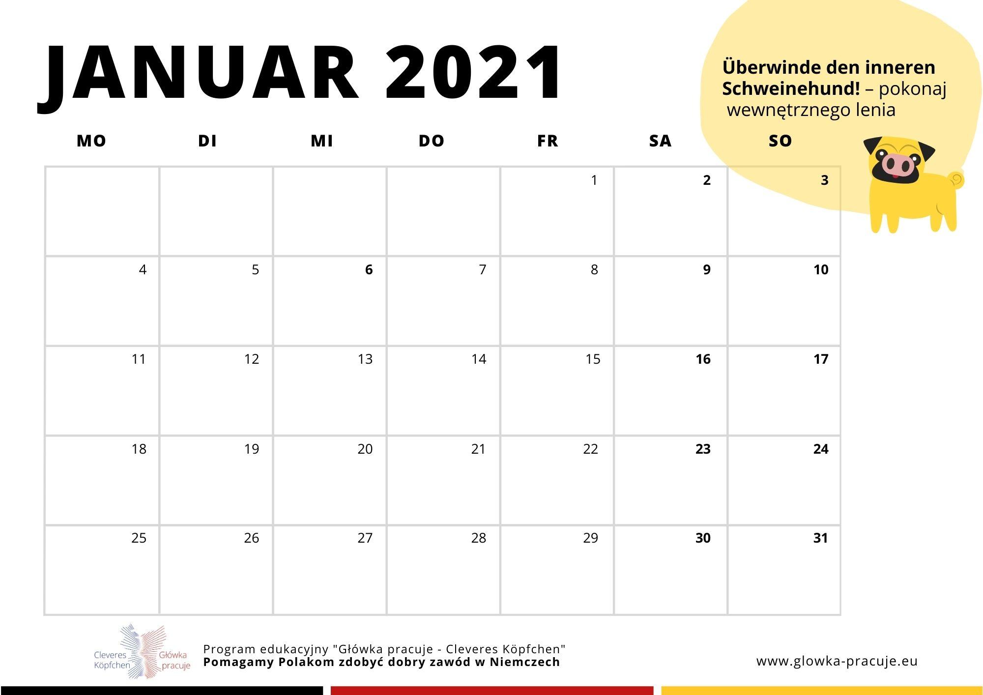 Kalendarz na styczeń 2021. Kliknij, aby pobrać i wydrukować