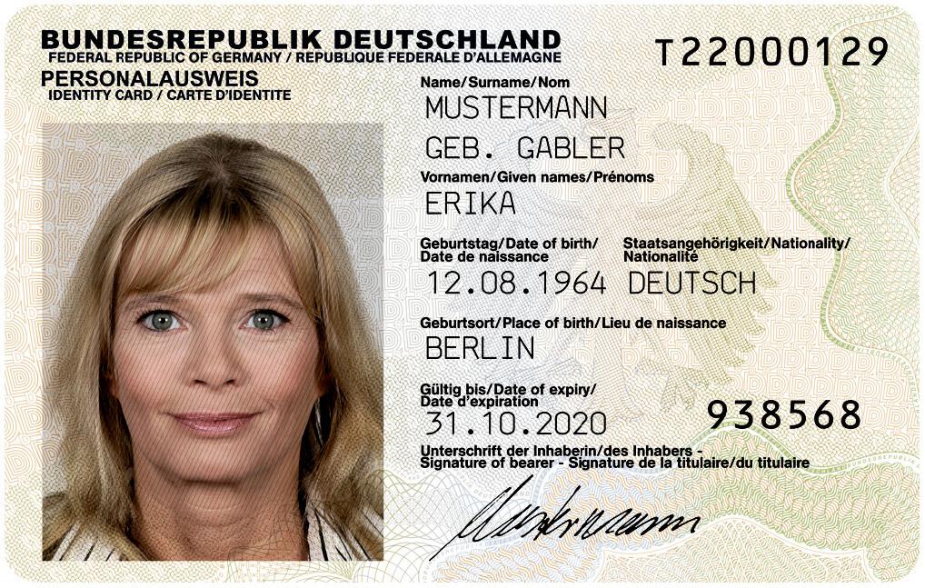 Erika Mustermann na wzorze niemieckiego dowodu osobistego